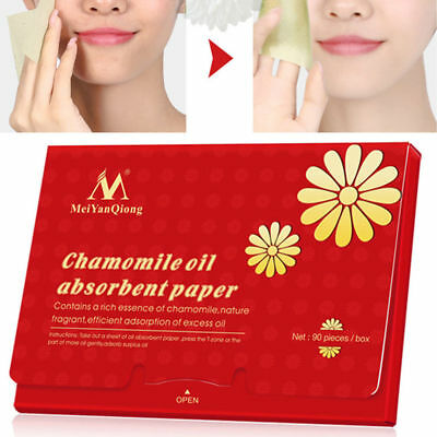 90x Make Up Oil Blotting Absorbing Facial Face Cleaning Chamomile Paper Beauty