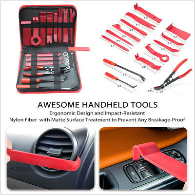 Portable 19X Car Upholstery Fastener Trim and Panel Removal Tools Clip Plier Set