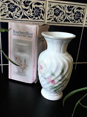 "Bnib Small Gilded Vase White Glazed Swirl Body Pansy Design 6.5"" High"