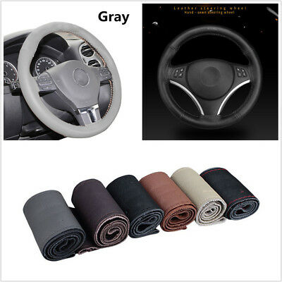 38cm Gray Soft Real Leather Braid Car Steering Wheel Covers w/Needle&Gray Thread