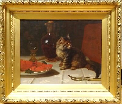 Large 19th Century Tabby Cat Kitten Lobster Still life Antique Oil Painting