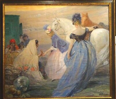 Fine Huge 19th Century French Ladies Horse Fortune Teller Antique Oil Painting
