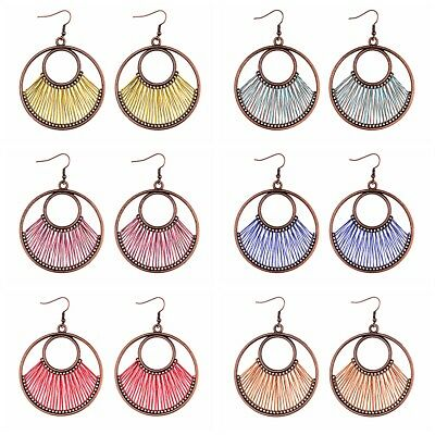 Fashion Bohemian Double Round Hollow Vintage Drop Dangle Women Ethnic Earrings