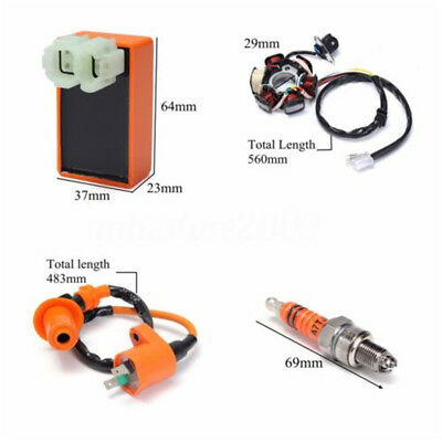 Motorcycle ATV 4in1 Racing Ignition Coil CDI Spark Plug Magneto Stator Universal