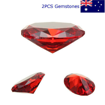 2PCS Exquisite Oval Red Ruby AAAA+ Unheated Cut Loose Gem Zircon Decoration AU