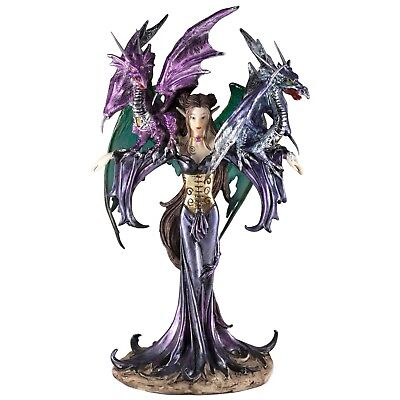 """Blue Fairy With Two Dragons Figurine Statue 10"""" High Resin New In Box!"""