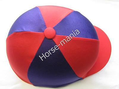 Purple & Red Riding Hat Silk Cover For Jockey Skull Caps One Size
