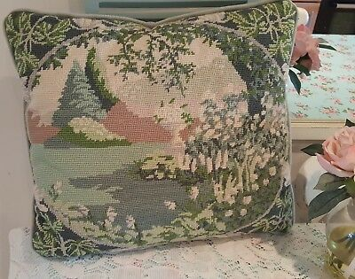 vintage hand embroidered tapestry cushion urn &white flower scene.country house