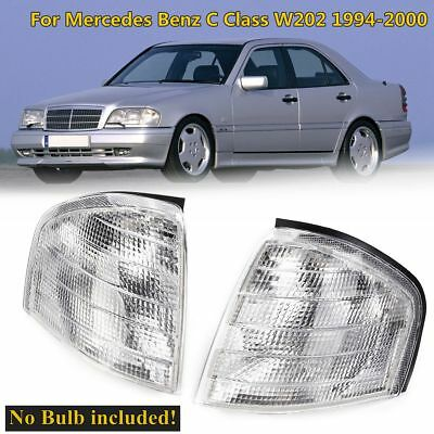 2 X Car Clear Corner Lights Side Lamps For Mercedes Benz C Class W202 1994-2000