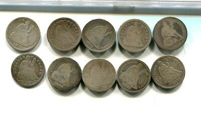 1853 1856 1854 1875 1872  Liberty Seated Silver Dime Type Coin Lot Of 10 Ag G