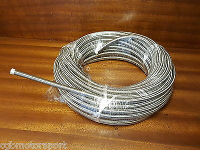 "Oil Water Fuel Hose An10 14Mm 9/16"" Braided Stainless Steel Hose Per 1/2 Metre"