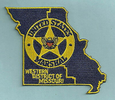 United States Marshal Missouri Western District Police Patch State Shaped