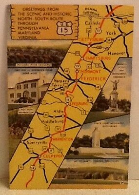 Map of US Route 15 Postcard from around 1940