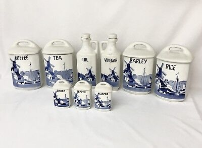 Vintage Czech Kitchen Canisters Blue and White Windmill in Yvonne Pattern