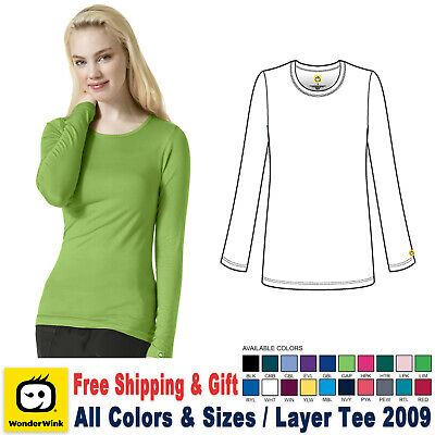 WonderWink Scrubs New Layer Medical Uniform Silky Long Sleeve Tee Free Shipping