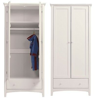 NEW Harvey Pine Double Wardrobe with Drawer & Hanging Rail - Ivory