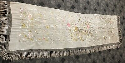 """Antique Chinese Banner Wall Hanging Tapestry Hand Embroidery On Silk 32"""" X 104"""""""