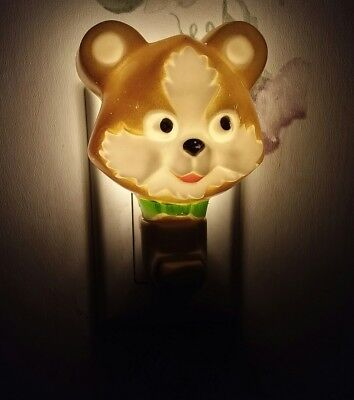 Rare 1976 Kiddie Products Inc Nite Lite Teddy Bear On Off Switch Night Light