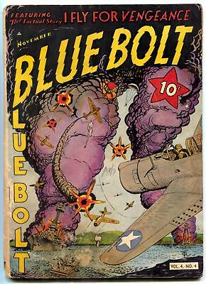 Blue Bolt Vol. 4 #4 1943- Sgt Spook- WWII cover Golden Age G-