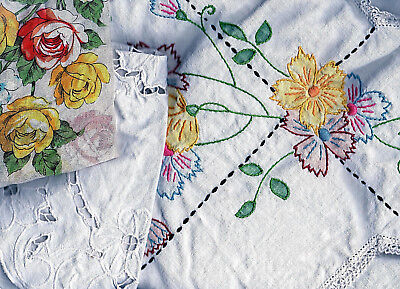 Vtg CRAFT CUTTERS Linen Lot of 20 Embroidered SWAN Runner,Tablecloth,Hanky,Doily