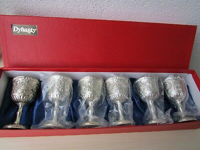 """E.P. ZINC & SILVER PLATED GOBLETS BY DYNASTY - MADE IN JAPAN, 3 3/4"""" Set of 6"""