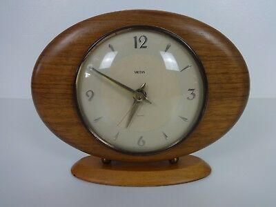 Vintage Smiths Sectric Clock Wooden Oval Shape Battery Powered Mantel Brown Gold