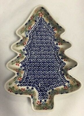 New Boleslawiec Polish Pottery Christmas Tree Candy Dish Garland Pattern