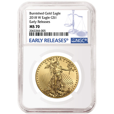 2018-W Burnished $50 American Gold Eagle 1 oz NGC MS70 Blue ER Label