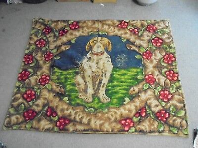 Vintage Stroock Motor Robe Carriage Blanket Spaced Out Dog 46 X 61 Nice Colors