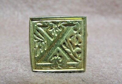 "Vintage Italy Brass Square Floral Letter ""X"" Sealing Wax Stamp Seal"