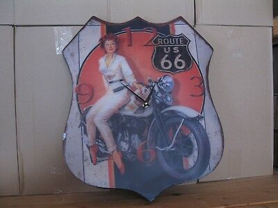Metal Wall Clock 48 Cm Nostalgic Clock Antique Style Route 66 Motorcycle
