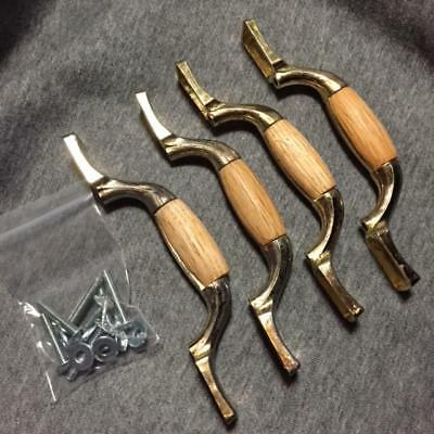 LOT-OF-4-Vintage-Brass-and-Oak-Wood-Drawer-Pulls-Handles-with-Screws-amp-Washer