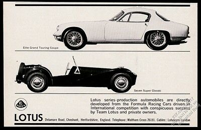 1962 Lotus Seven Super Classic and Elite GT Coupe 2 car photo vintage print ad