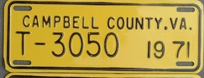 VIRGINIA VINTAGE 1971 Campbell County License plate   T - 3050