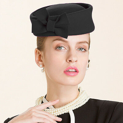 Ladies Beret Felt Wool Fascinator Bridal Wedding Pillbox Royal Ascot Hat T184