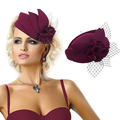 Ladies Wool Felt Beret Hat Fascinator Pillbox Royal Ascot Race Day Wedding A131