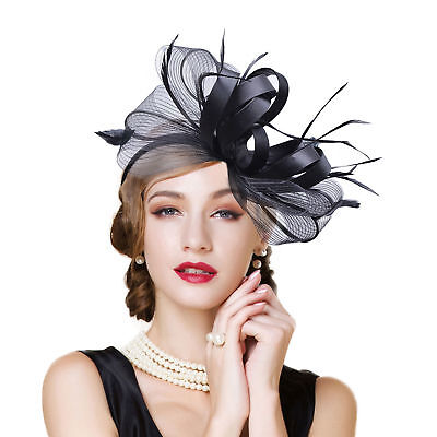 Womens Fascinator Feather Cocktail Hat Wedding Royal Ascot Ladies' Day KA326