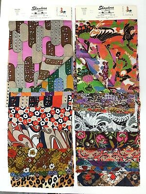 Vtg 1960s Fabrics by STAFFORD Fabric NYC Sample Lot Celanese Acetate Graphics