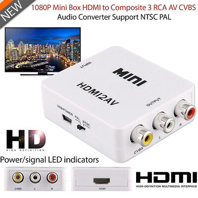 HDMI To AV Adapter Converter Cable CVBS 3RCA 1080P Composite Video Audio New