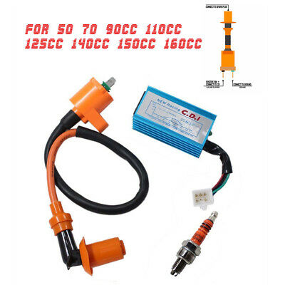 Aluminum Ignition Coil+5 Pin AC CDI+A7TC Spark Plug For 50-160cc Pit Dirt Bike