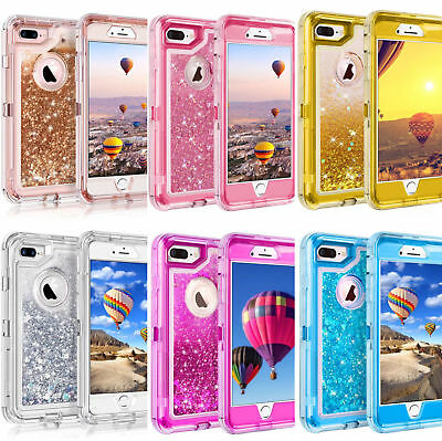 For iPhoneX XR XS Max 6 7 8 Plus Glitter Liquid Defender Belt Clip Fits Otterbox