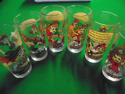 Vintage Nutella Collectable Glasses Depicting 6 Stages of making Nutella No 1-6