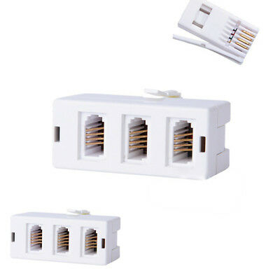 3pcs White Plastic BT Telephone Phone Socket TRIPLE 3 way Adapter Splitter NE8