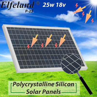 Elfeland Moncrystalline 25 Watt 25W 18V Solar Panel Mono Module For RV Boat Home