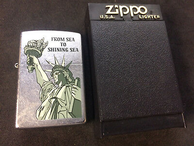 2001 ZIPPO Lighter From Sea to Shining Sea New Sealed Statue Of Liberty 637