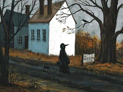 1.5x2 DOLLHOUSE MINIATURE PRINT RYTA 1:12 SCALE HALLOWEEN BLACK CAT WITCH SALEM