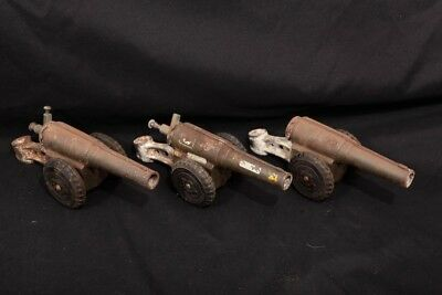 """3X 6"""" Toy Cast Iron Carbide Cannons Mounted on Wheels, One  Breech is Missing"""