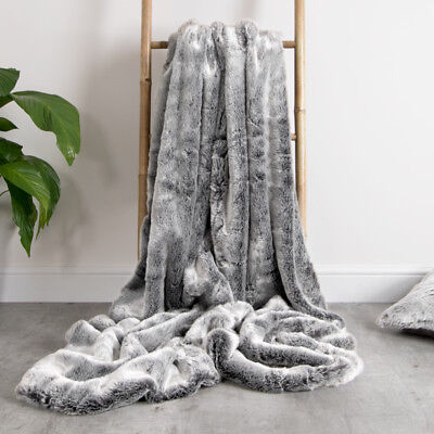 Icon Luxury Faux Fur Throw Extra Large 150cm x 200cm Soft Blanket Bedspread