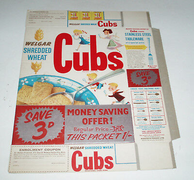 1950's WELGAR Shredded Wheat CUBS Cereal box from England w. Detective Badge off