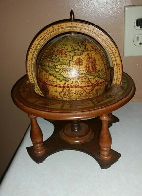 Vintage Wood Table Top Zodiac Astrology Old World Globe w/ Stand  Made in Italy